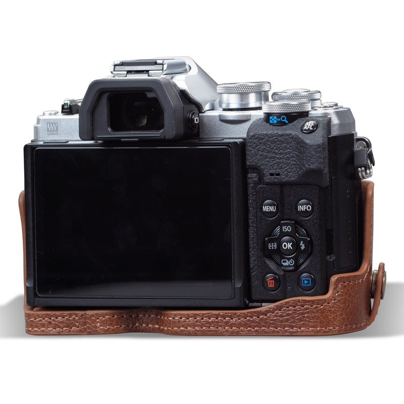 MegaGear Olympus OM-D E-M10 Mark IV Ever Ready Genuine Leather Camera Case, Bag and Accessories - Brown-5