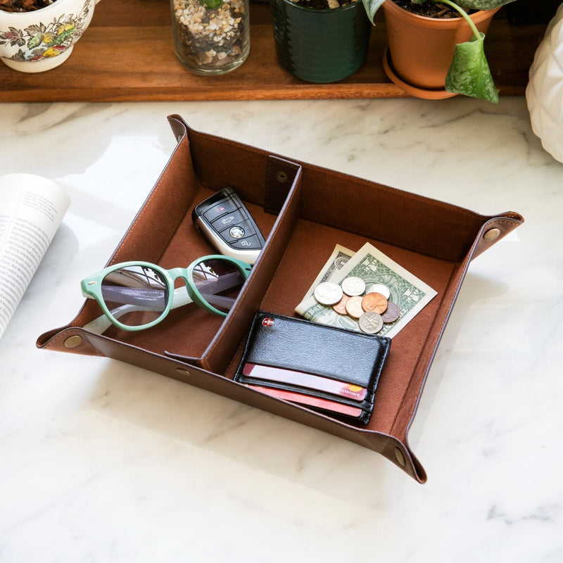 Londo Leather Tray Organizer, Practical Storage Box for Wallets, Watches, Keys, Coins, Cell Phones and Office Equipment