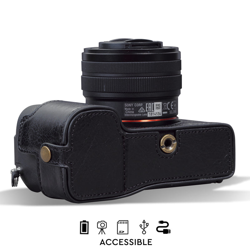 MegaGear Sony Alpha A7C Ever Ready Genuine Leather Camera Half Case, Bag and Accessories - Black-3