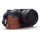 MegaGear Sony Alpha A7C Ever Ready Genuine Leather Camera Half Case, Bag and Accessories - Brown-1