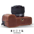 MegaGear Sony Alpha A7C Ever Ready Genuine Leather Camera Half Case, Bag and Accessories - Brown-3