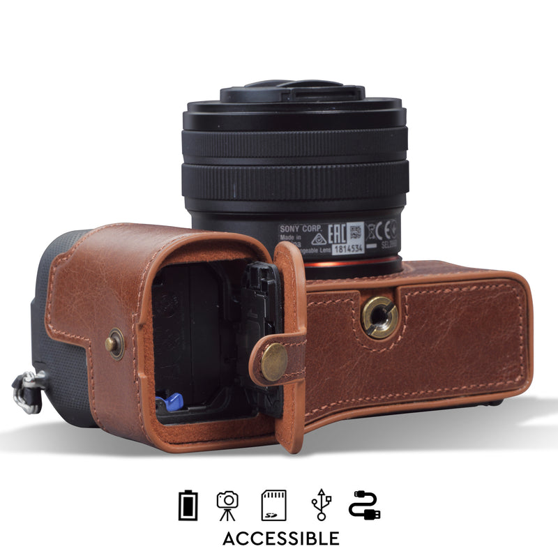 MegaGear Sony Alpha A7C Ever Ready Genuine Leather Camera Half Case, Bag and Accessories - Brown-4