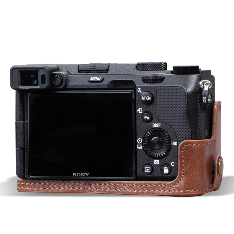 MegaGear Sony Alpha A7C Ever Ready Genuine Leather Camera Half Case, Bag and Accessories - Brown-5