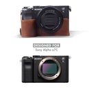 MegaGear Sony Alpha A7C Ever Ready Genuine Leather Camera Half Case, Bag and Accessories - Brown-6