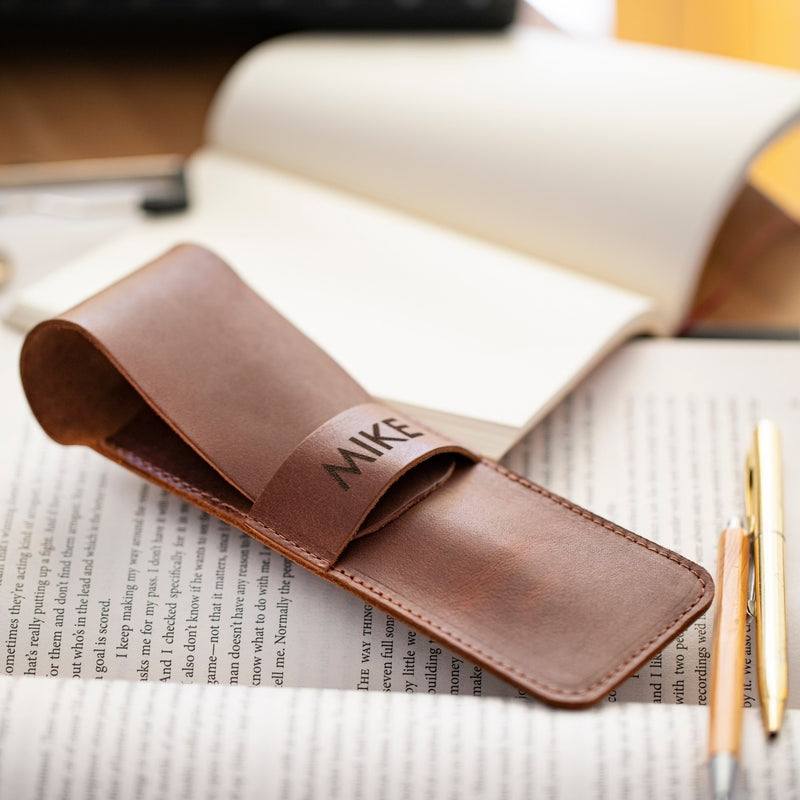 Londo Top Grain Leather Pen and Pencil Case with Tuck in Flap