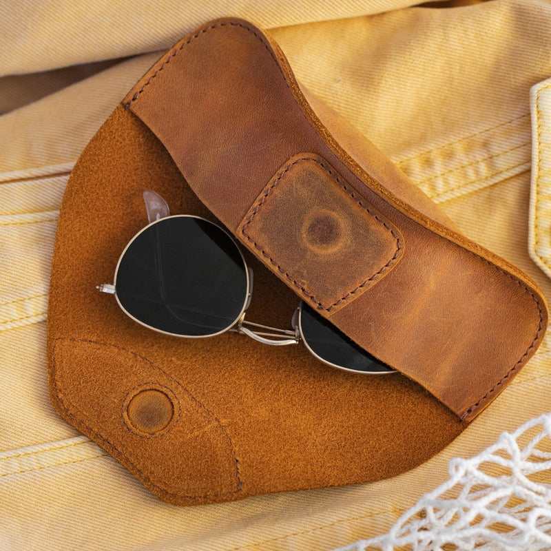 Londo Top Grain Leather Case for Eyeglass, Sunglasses, Goggles and Spectacles with Magnetic Closure