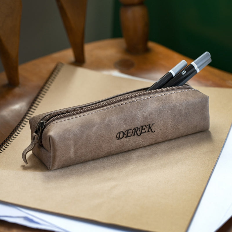 Londo Top Grain Leather Zipper Pen, Pencil and Cosmetic Case