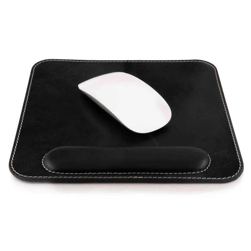 Londo Genuine Leather Mouse Pad with Wrist Rest - Black