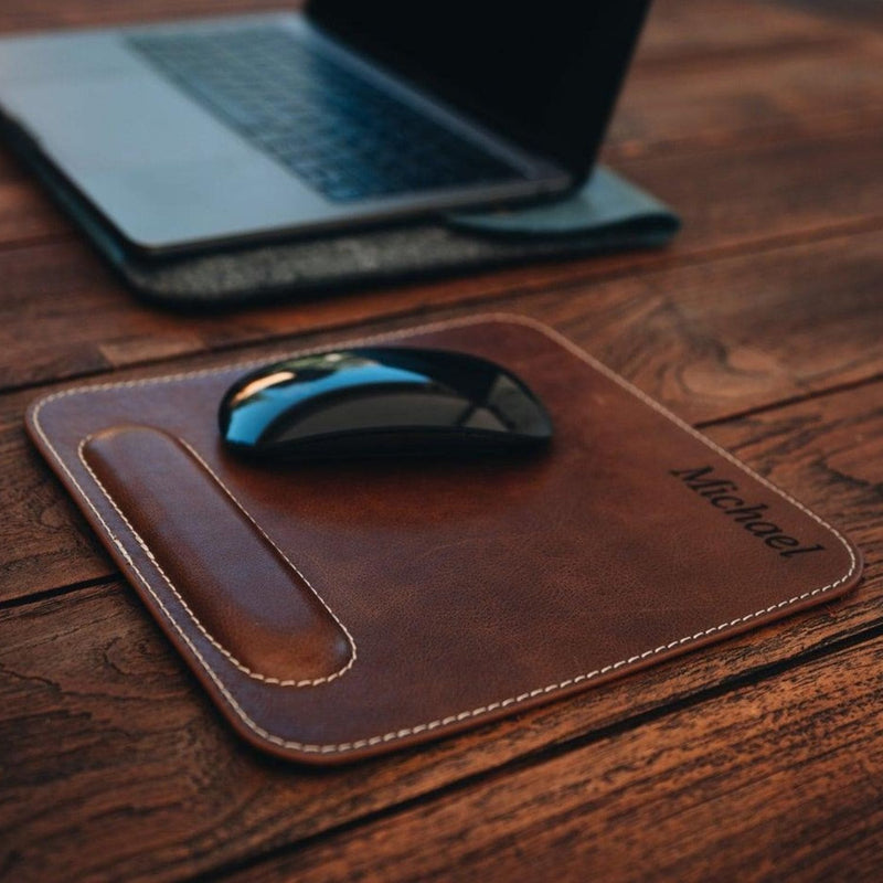Londo Genuine Leather Mouse Pad with Wrist Rest - Brown