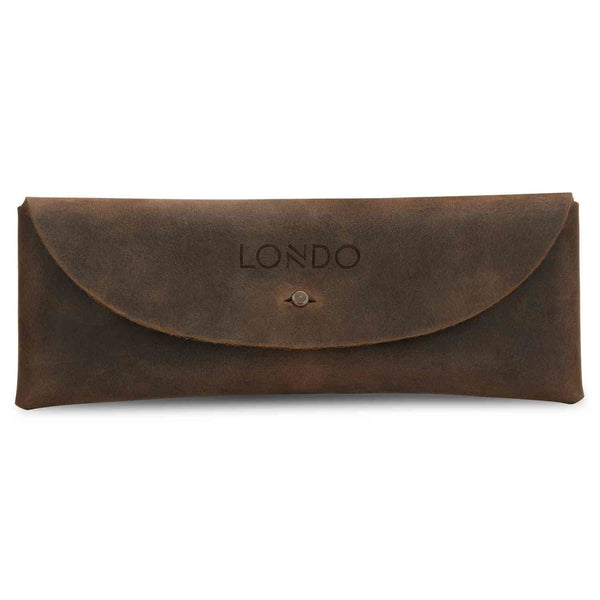 Londo Genuine Leather Pen Case with Metal Snap Fastener