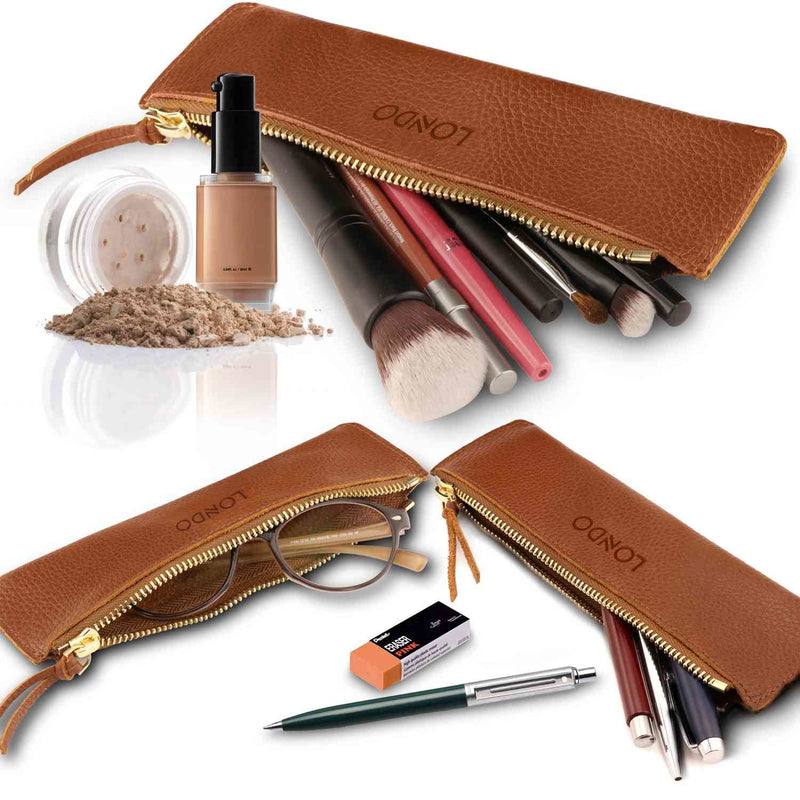 Londo Genuine Leather Pen Case with Zipper Closure Pencil
