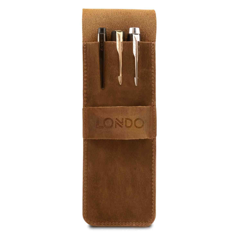 Londo Genuine Leather Pen and Pencil Case with Tuck in Flap