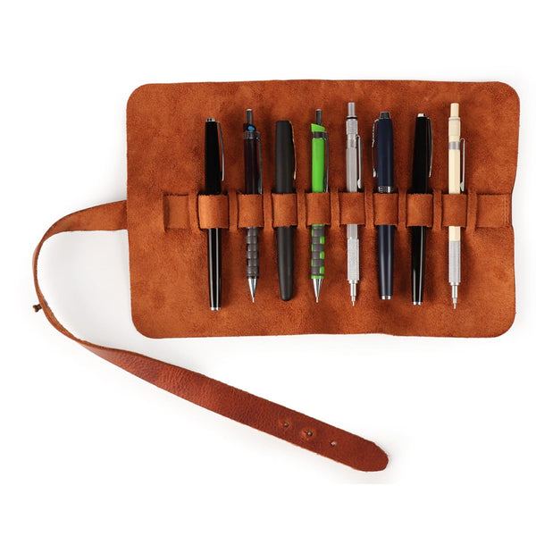 Londo Genuine Leather Pen and Pencil Roll Case - Brown