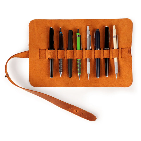 Londo Genuine Leather Pen and Pencil Roll Case - Camel