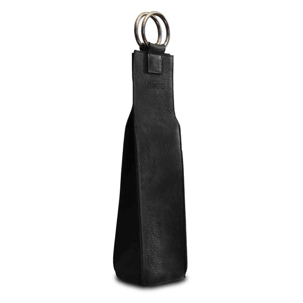 Londo Genuine Leather Wine Bottle Holder and Carrier - Black