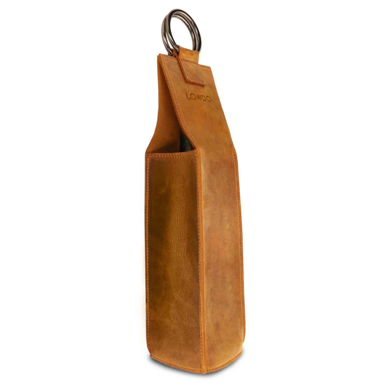 Londo Genuine Leather Wine Bottle Holder and Carrier - Camel