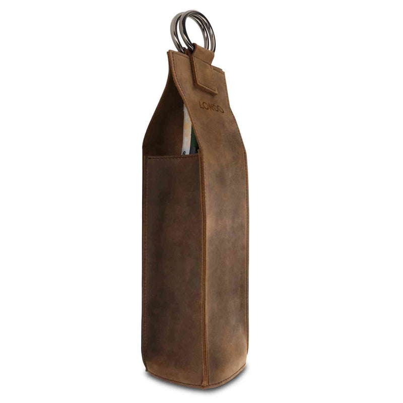 Londo Genuine Leather Wine Bottle Holder and Carrier -