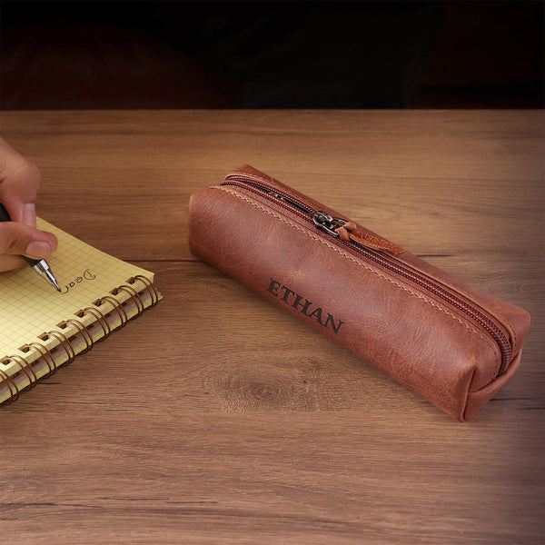 Londo Genuine Leather Zipper Pen Pencil and Cosmetic Case -