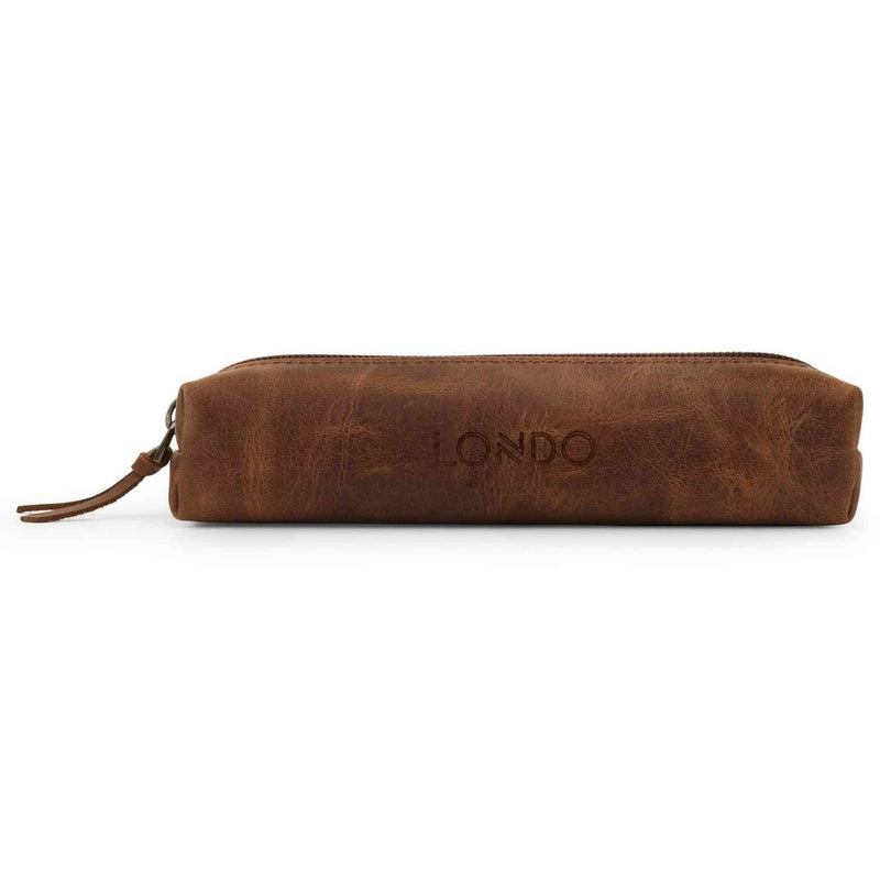 Londo Genuine Leather Zipper Pen Pencil and Cosmetic Case