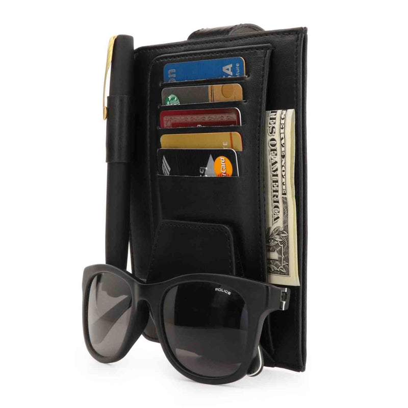 Londo Leather Car Visor Organizer - Black