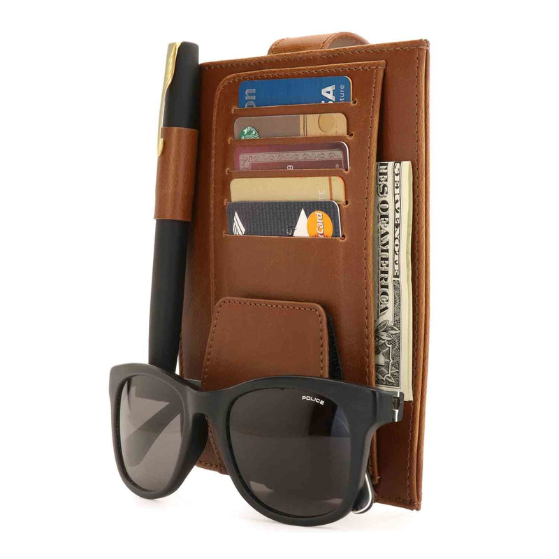 Londo Leather Car Visor Organizer - Brown