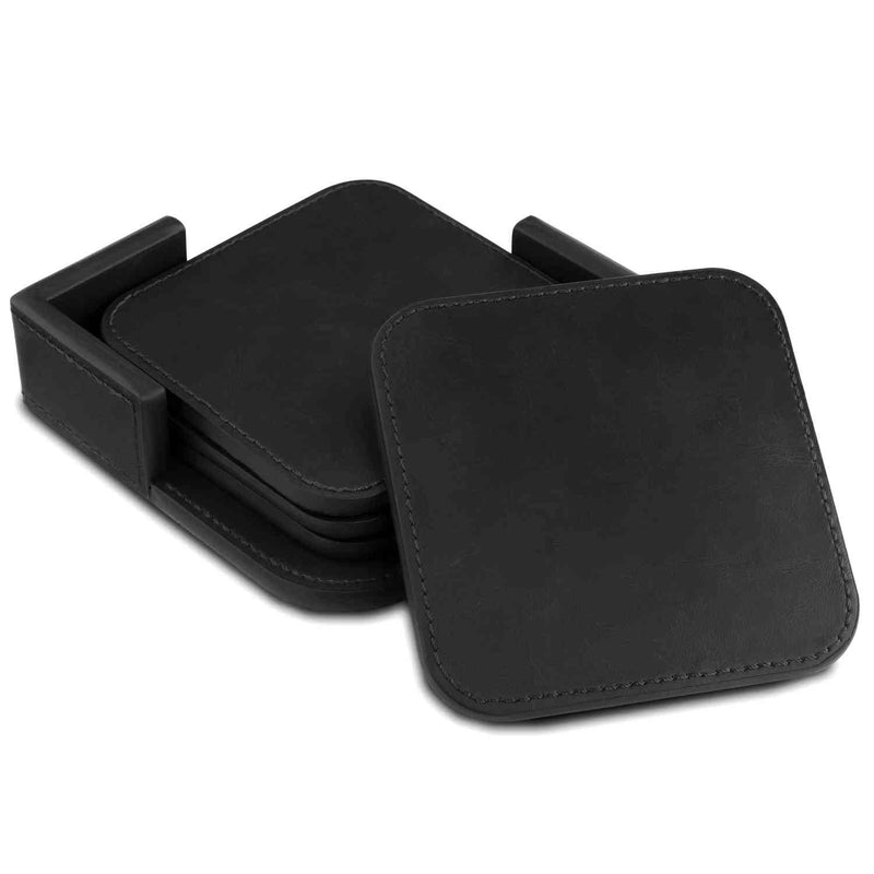 Londo Leather Coasters (Set of 4) - Non-Slip Surface - Black