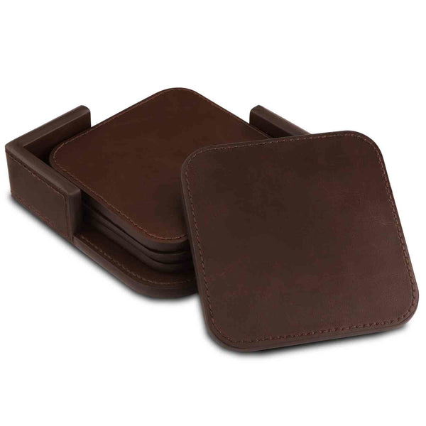 Londo Leather Coasters (Set of 4) - Non-Slip Surface - Dark