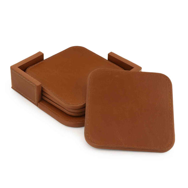 Londo Leather Coasters (Set of 4) - Non-Slip Surface - Light