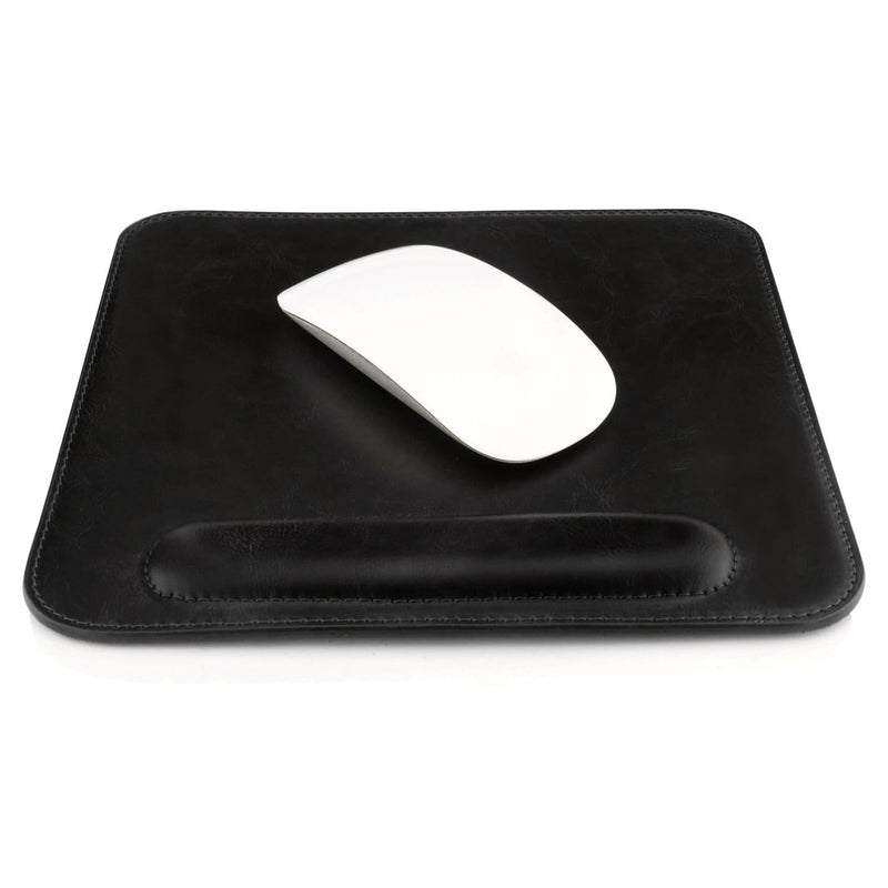 Londo Leather Mouse Pad with Wrist Rest - Black Stitches