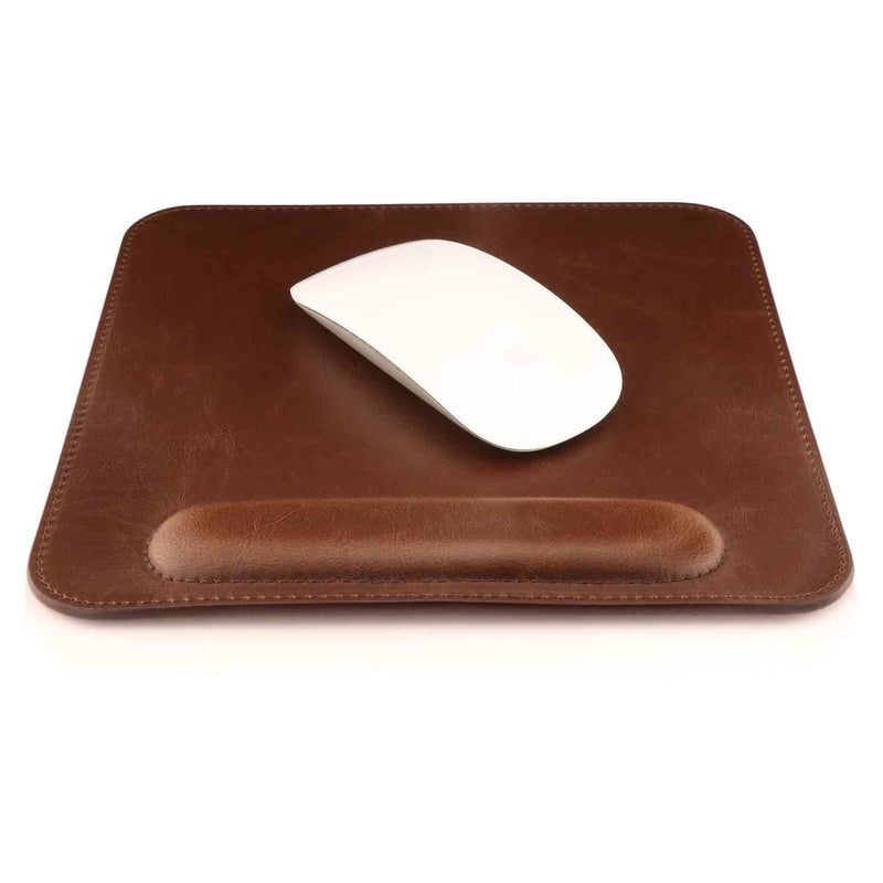 Londo Leather Mouse Pad with Wrist Rest - Dark Brown