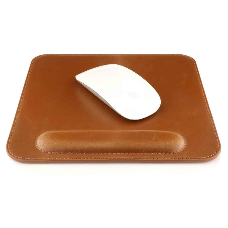 Londo Leather Mouse Pad with Wrist Rest - Light Brown