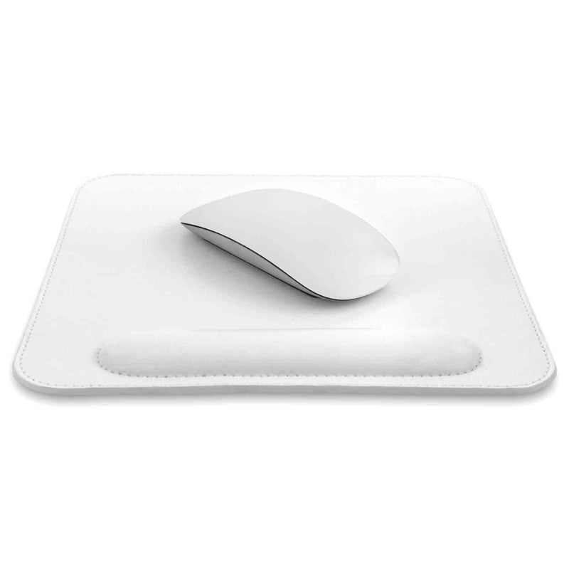 Londo Leather Mouse Pad with Wrist Rest - White