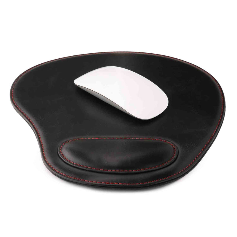 Londo Leather Oval Mouse Pad with Wrist Rest - Black