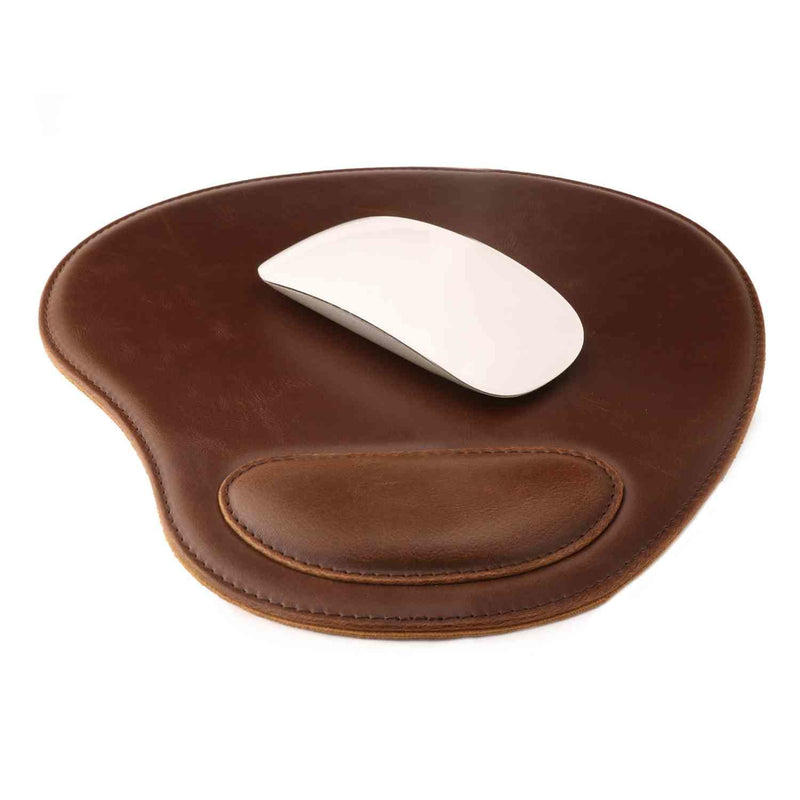 Londo Leather Oval Mouse Pad with Wrist Rest - Dark Brown