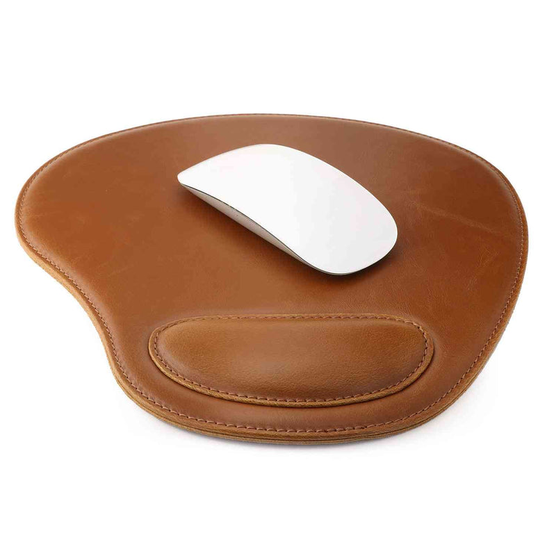 Londo Leather Oval Mouse Pad with Wrist Rest - Light Brown