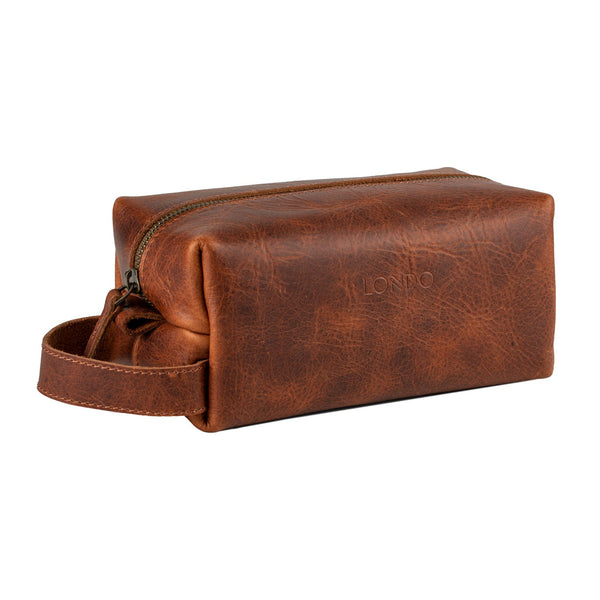 Londo Real Cowhide Leather Travel Bag - Dopp Kit - Brown
