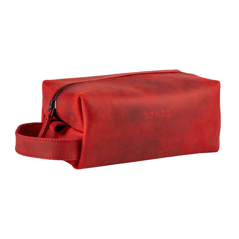 Londo Real Cowhide Leather Travel Bag - Dopp Kit - Red