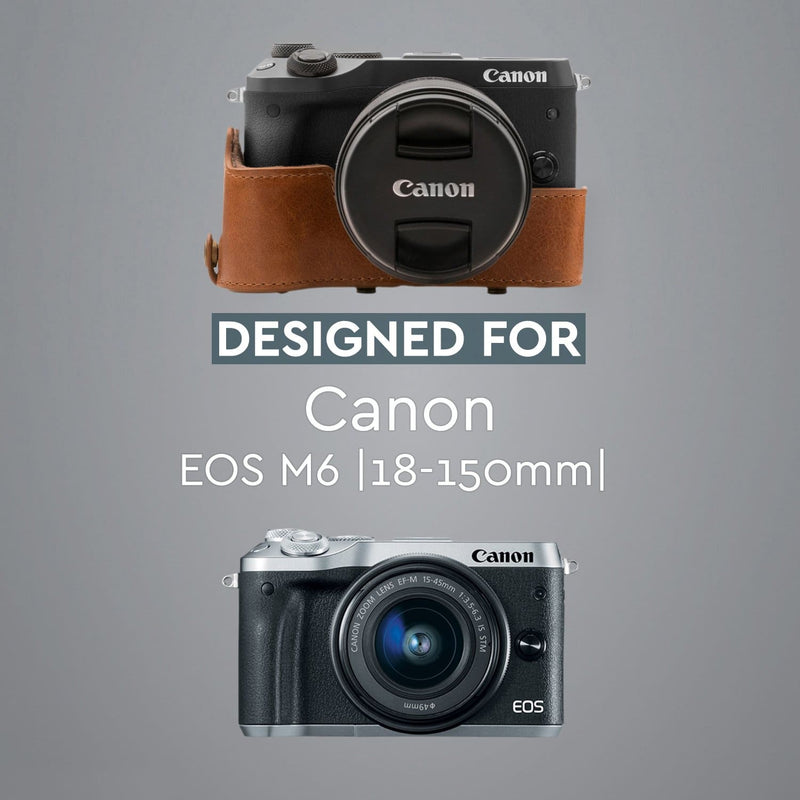 MegaGear Canon EOS M6 (18-150 mm) Ever Ready Genuine Leather