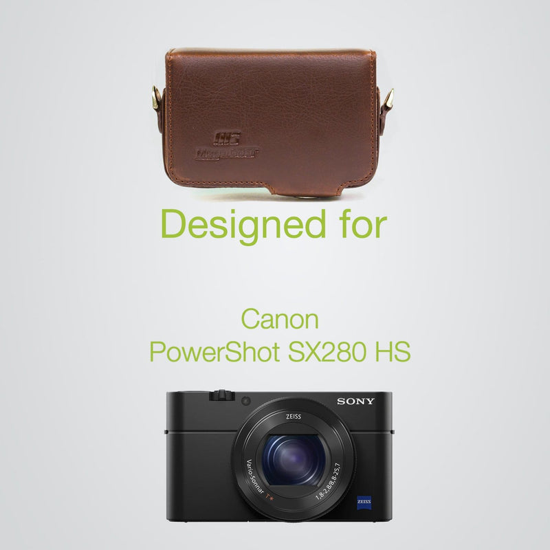 MegaGear Canon PowerShot SX280 HS Leather Camera Case with