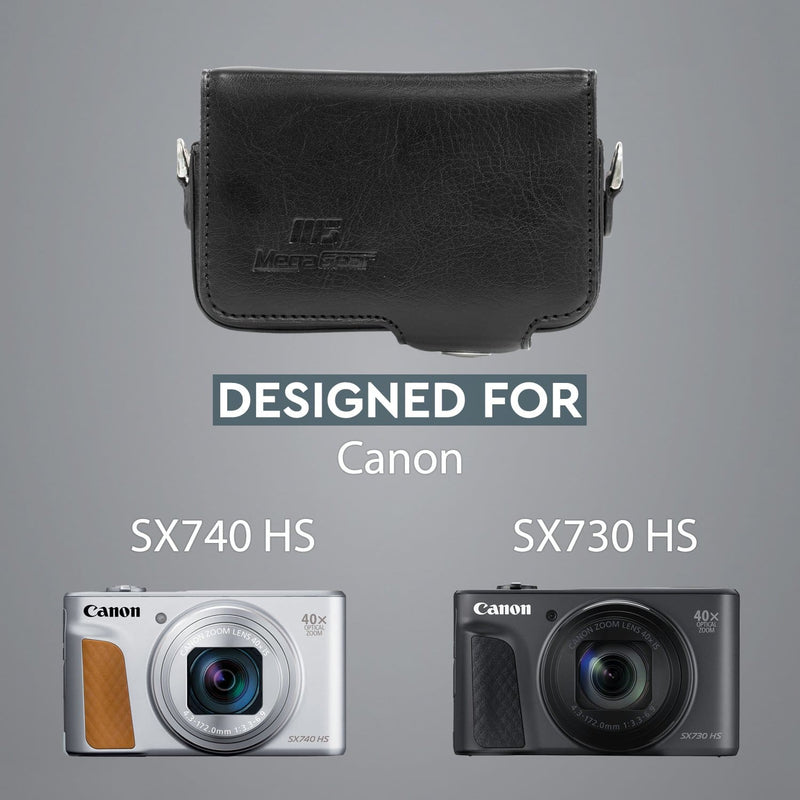 MegaGear Canon PowerShot SX740 HS SX730 Leather Camera Case