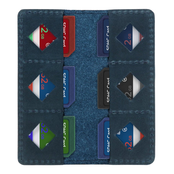 MegaGear Leather SD Card Holder - Blue