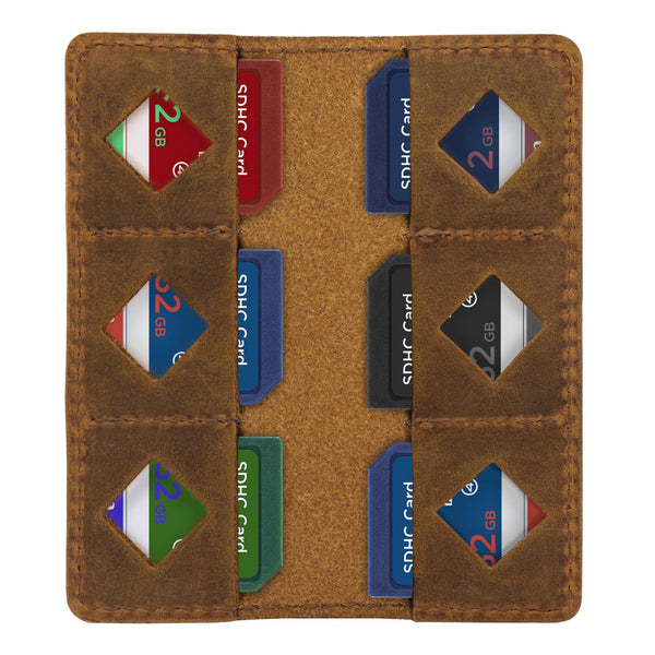 MegaGear Leather SD Card Holder - Camel
