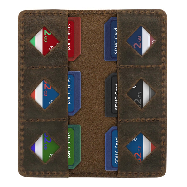 MegaGear Leather SD Card Holder - Cinnamon