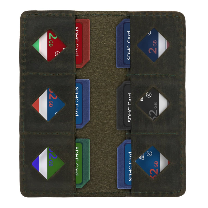 MegaGear Leather SD Card Holder - Green