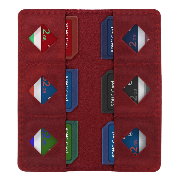 MegaGear Leather SD Card Holder - Red