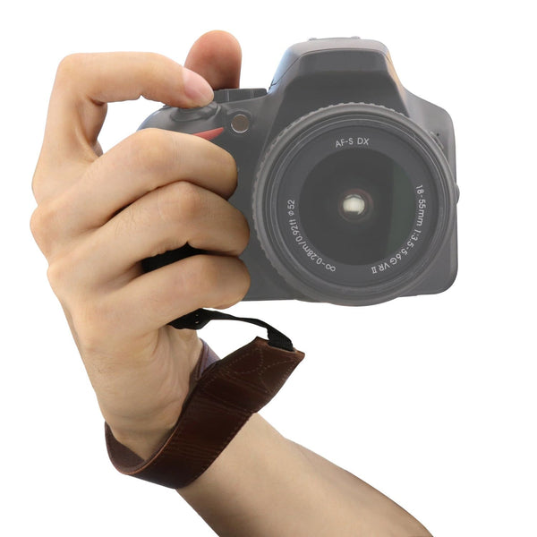 MegaGear Leather Wrist Strap for Canon Nikon Panasonic Leica