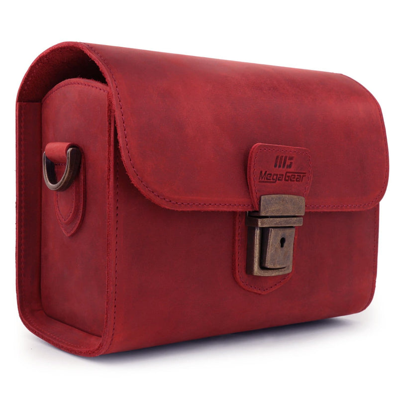 MegaGear Pebble Genuine Leather Camera Messenger Bag for