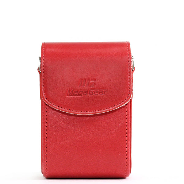 MegaGear Samsung WB350F Leather Camera Case with Strap - Red