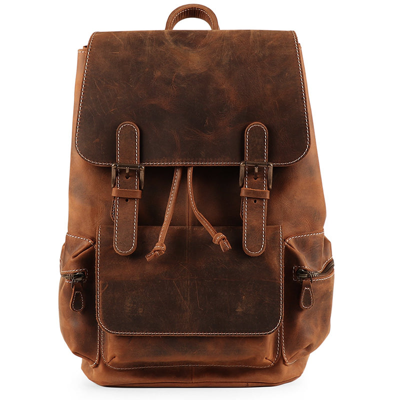 MegaGear Valley Handmade Real Leather Backpack - Brown