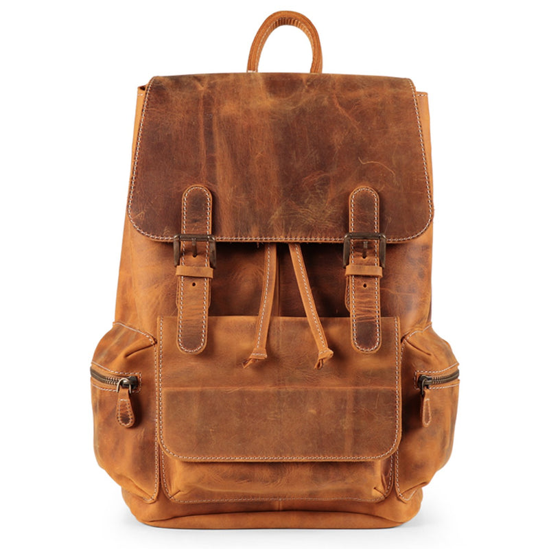 MegaGear Valley Handmade Real Leather Backpack - Camel